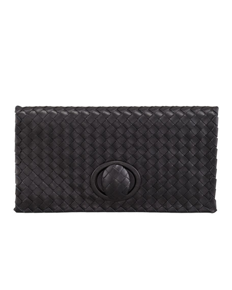 Veneta Zip Clutch, Black