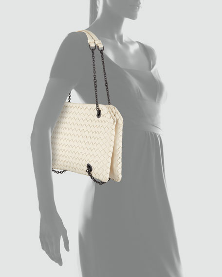 Veneta Small Chain Shoulder Bag, Off White