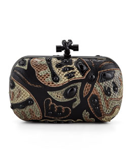 Bottega Veneta Knot Butterfly Snakeskin Clutch Bag