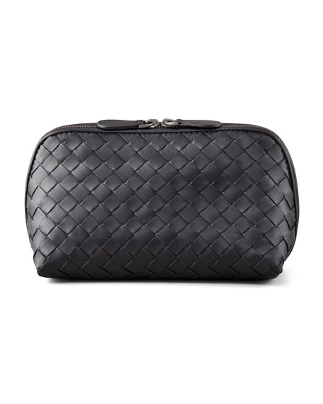 Bottega Veneta Woven Leather Medium Cosmetic Case, Black