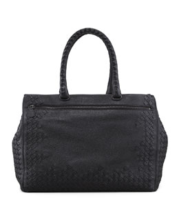 Bottega Veneta Cervo Medium Woven Frame Tote Bag, Black