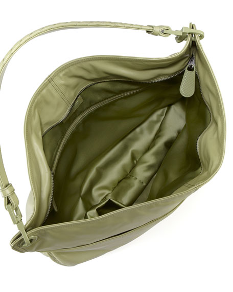 Setas Woven-Strap Hobo Bag, Green