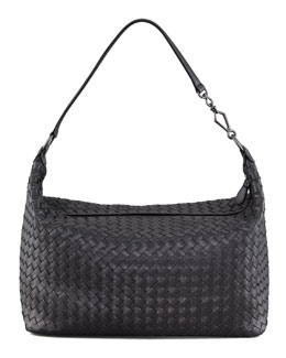 Bottega Veneta Woven Leather Shoulder Bag, Black