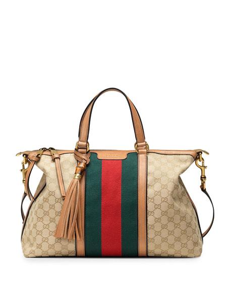 de75066a3ed Gucci Rania Canvas Top Handle Bag