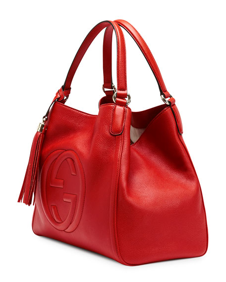 Soho Leather Shoulder Bag, Red