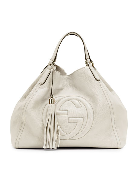 Soho Leather Shoulder Bag, White