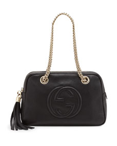 Soho Leather Double Chain Strap Shoulder Bag, Black by Gucci