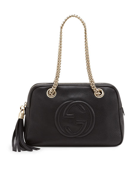 cf2cb17ab Gucci Soho Leather Double-Chain-Strap Shoulder Bag, Black