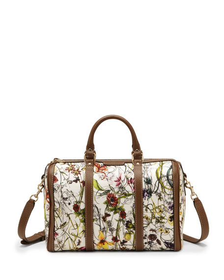 Vintage Web Floral Canvas Boston Bag