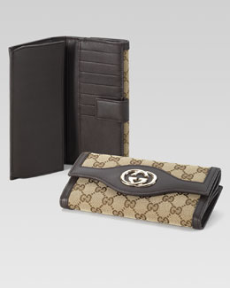 Gucci Original GG Canvas Continental Wallet, Cocoa