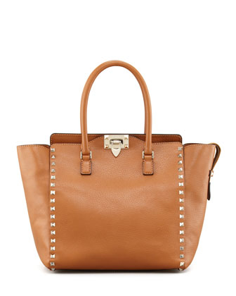 Rockstud Double Handle Tote Bag, Beige