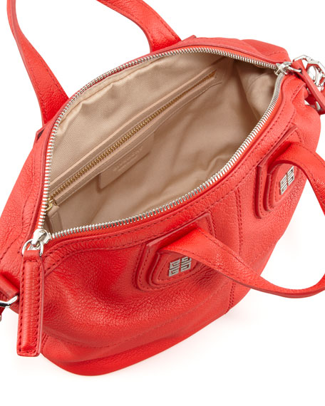 Nightingale Micro Leather Satchel Bag, Red