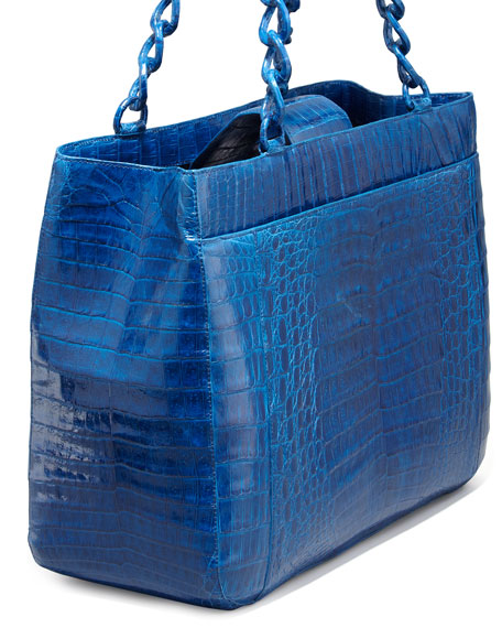 Crocodile Chain-Strap Tote Bag, Electric Blue