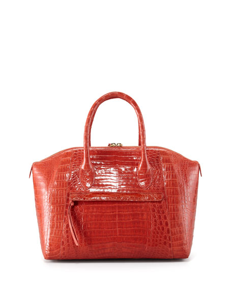 Tassel Crocodile Dome Bag, Orange Shiny