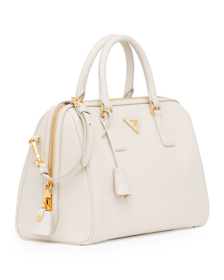 Saffiano Bowler Bag with Strap,White (Talco)
