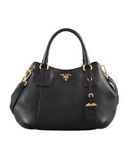 Prada Daino Medium Shoulder Tote Bag, Black