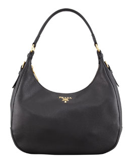 Prada Daino Zip-Top Hobo, Black (Nero)
