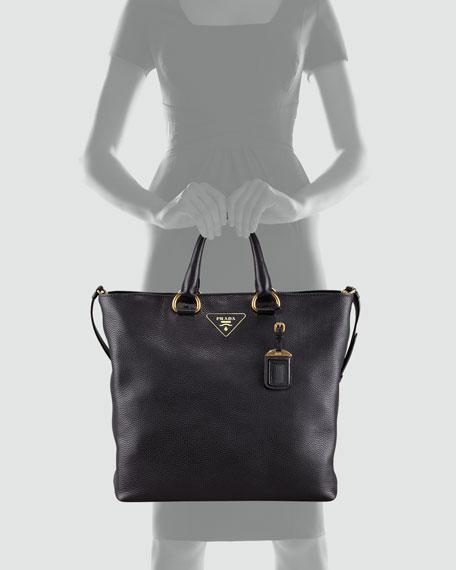 bbf195a12c4f Prada Daino Pebbled Leather Tote Bag, Nero
