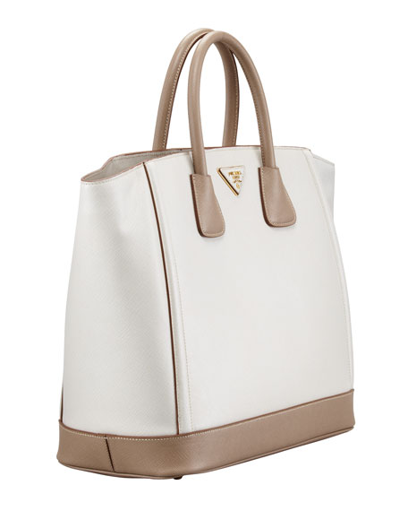 Saffiano Large Bi-Color Tote Bag, Talco/Visone