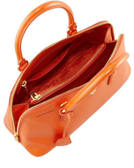Medium Saffiano Pomenade Bag, Orange (Papaya)