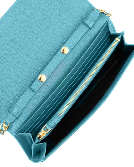 Saffiano Wallet on Chain, Turquoise (Turchese)