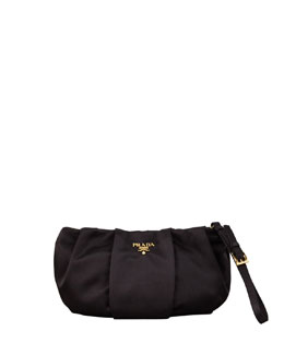 Prada Satin Wristlet Bag, Black (Nero)