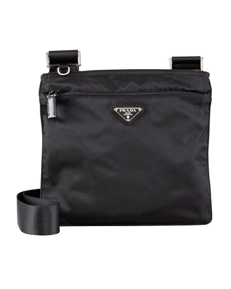0a89a97ce2 prada nylon leather messenger bag
