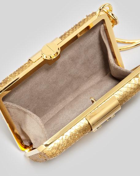 Natasha Python Wristlet Minaudiere, Gold
