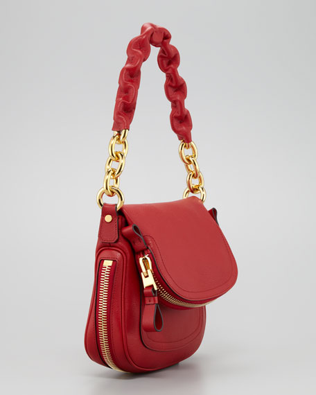Jennifer Calfskin Maxi-Chain Shoulder Bag, Red