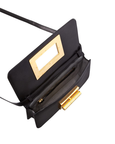 Natalia Black Calfskin East-West Shoulder Bag