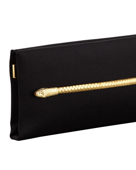 Two-Headed Serpent Black Silk Clutch