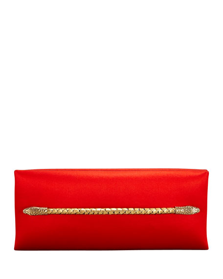 Two-Headed Serpent Coral Red Silk Clutch