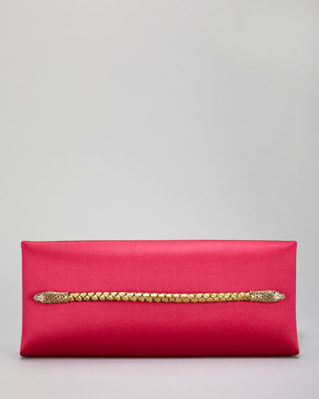 Two-Headed Serpent Hot Pink Silk Clutch