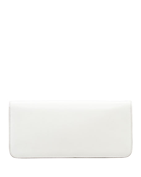 Natalia East-West Turnlock Leather Shoulder Bag, Ivory