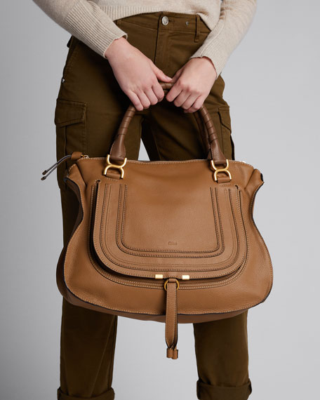 Marcie Large Leather Satchel Bag, Tan