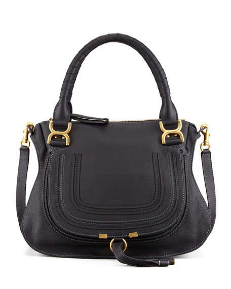 Marcie Medium Satchel Bag, Black
