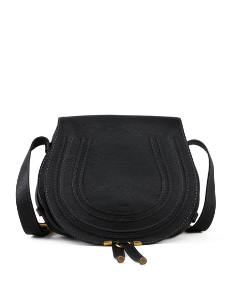 Marcie Medium Leather Crossbody Bag, Black