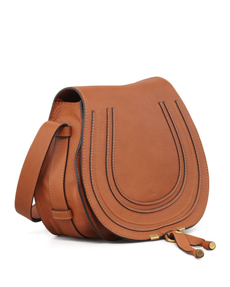 Marcie Medium Leather Crossbody Bag, Tan