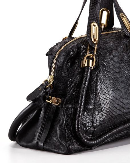 Paraty Medium Python Shoulder Bag, Black