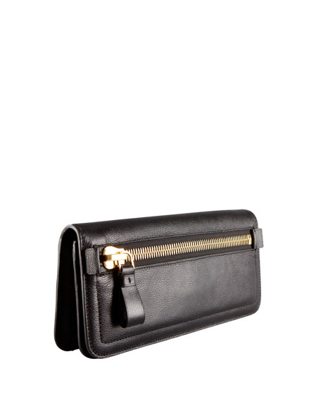 Jennifer Zip Calfskin Clutch Bag, Black