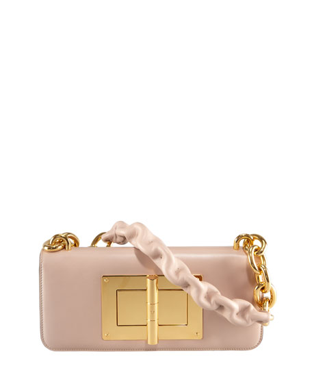 Natalia Maxi Chain East-West Shoulder Bag, Nude