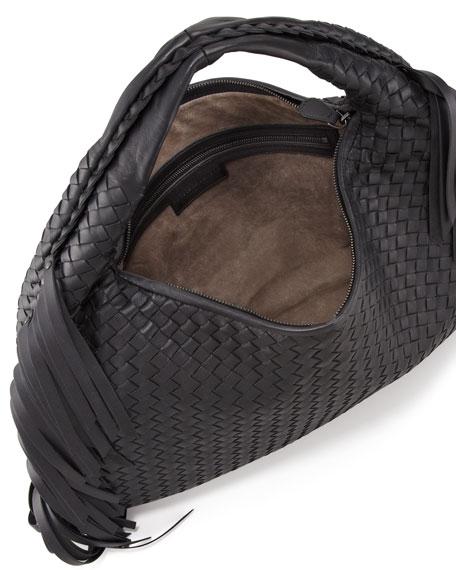 Veneta Fringed Hobo Bag, Black
