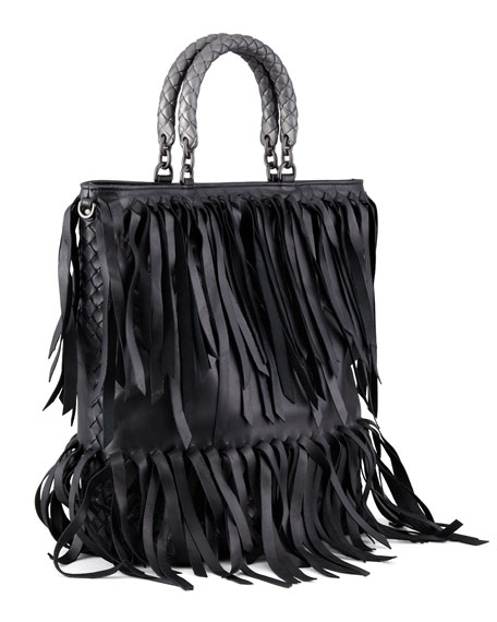 Woven-Handle Fringe Leather Tote Bag, Black