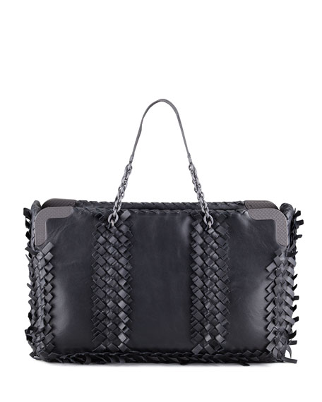 Mini Fringe East-West Tote Bag, Black