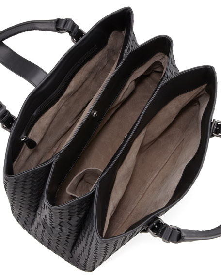 Veneta Roma Shoulder-Strap Satchel Bag, Black