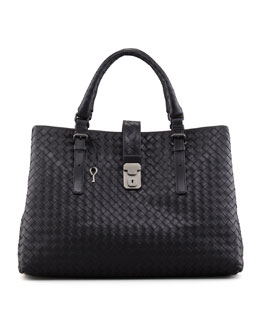Bottega Veneta Veneta Roma Shoulder-Strap Satchel Bag, Black