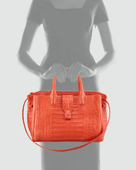 Cristina Crocodile Shoulder Tote Bag, Orange