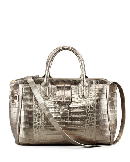 Cristina Crocodile Shoulder Tote Bag, Bronze