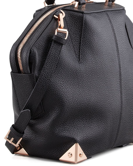 Emile Tote Bag, Black/Rose Golden