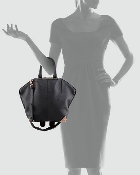 Emile Tote Bag, Black/Rose Golden